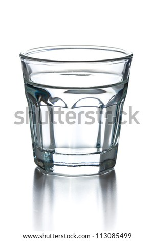glass of clear alcohol on white background
