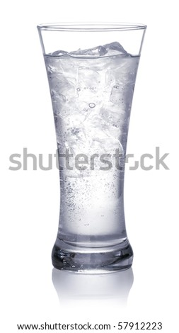 glass of clear water and ice. Isolated on white background