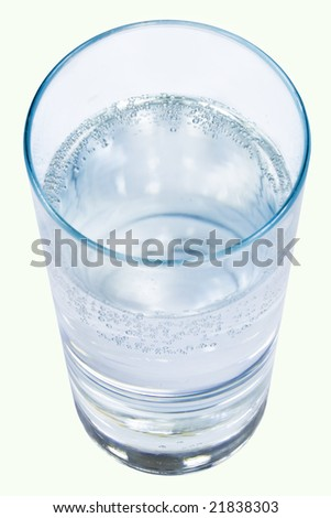 Glass of clear water on a white isolated background