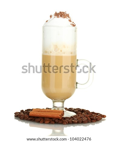 glass of coffee cocktail with coffee beans and cinnamon isolated on white