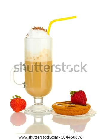 glass of coffee cocktail with tart on doily and strawberry isolated on white