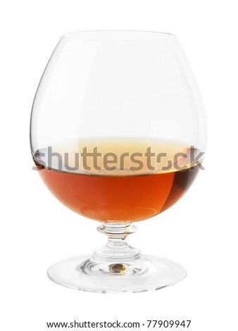 glass of cognac isolated on white background