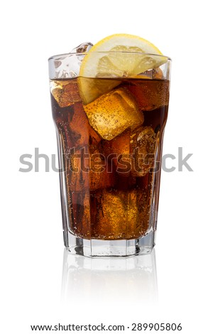 glass of coke (Cola) with ice cubes and lemon slice isolated on white background