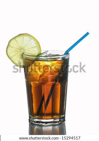 Glass of Coke with lemon, icecubes and a straw - stock photo