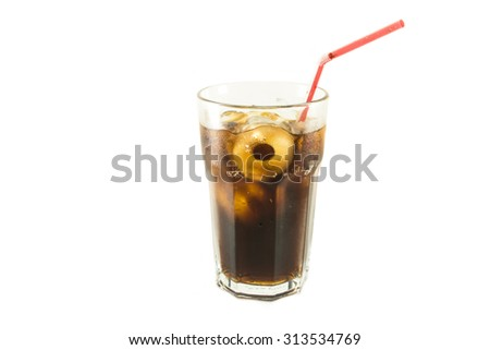 glass of cola red straw with