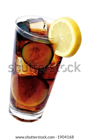 Glass of cola with lemon garnish and ice - stock photo