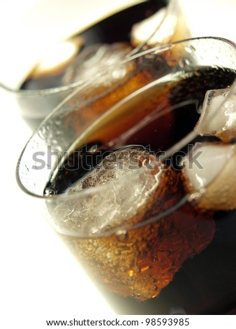 Glass of cold cola with ice