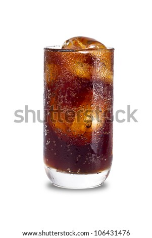 Glass of cold drink isolated on white background with clipping path