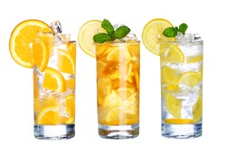 Glass Of Cold ice tea and lemonade Drink collection  isolated on white background