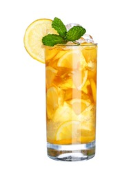 Glass Of Cold ice tea Drink isolated on white background