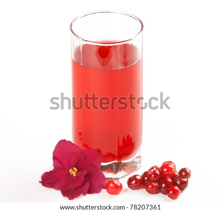Glass of cranberry juice on a white background - stock photo