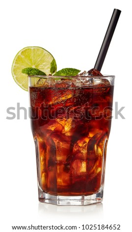 Glass of cuba libre or long islan iced tea isolated on white background Photo stock ©