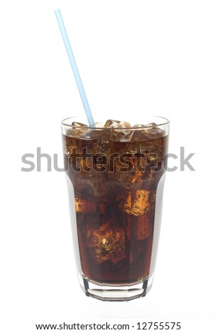 Glass of dark cola soda with a straw against white