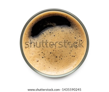 Glass of dark stout beer top view with foam. Isolated on white background. with clipping path. Stock photo ©