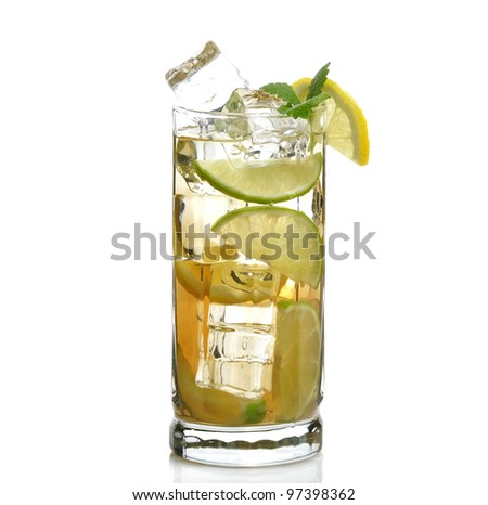 Glass Of Drink With Ice Cubes , Lime And Lemon