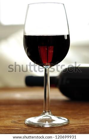 Glass of fine italian red wine, selective focus