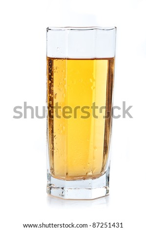 glass of fresh apple juice isolated on a white background