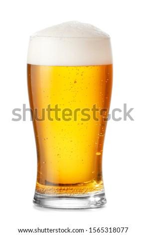 Glass of fresh beer on white background Stock fotó ©