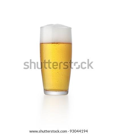 glass of fresh beer with foam isolated on white background