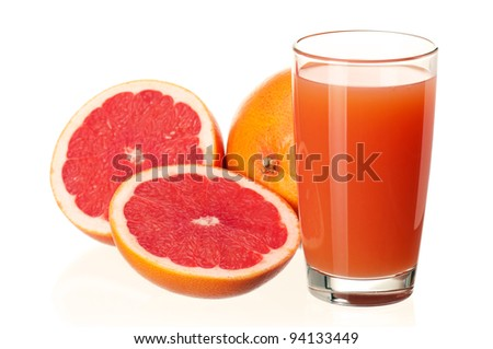 Glass of fresh grapefruit juice and grapefruit fruits on white background