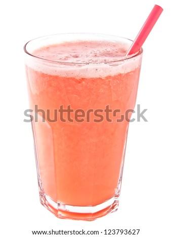 Glass of fresh grapefruit juice isolated on white background
