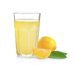 Glass of fresh lemon juice on white background