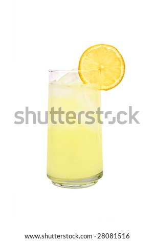 Glass of fresh made lemonade with sliced fruit isolated on a white background.