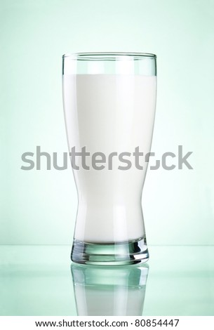 Glass of fresh milk on green background