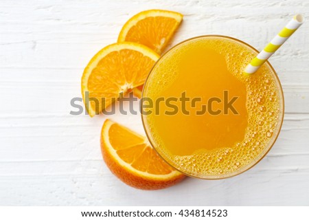 Photo of  Glass of fresh orange juice from top view