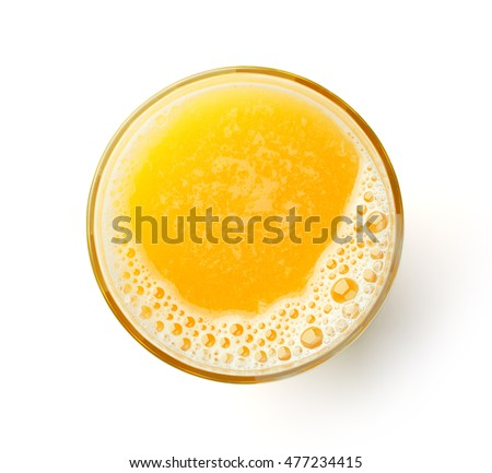 glass of fresh orange juice isolated on white background, top view