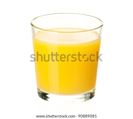 Glass of fresh orange juice on white background - stock photo