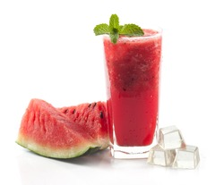 glass of fresh watermelon juice isolated on white