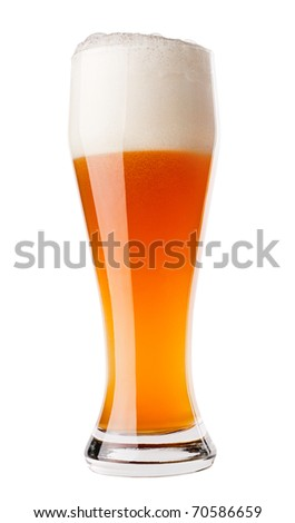 Glass of gold Beer close up isolated on white background