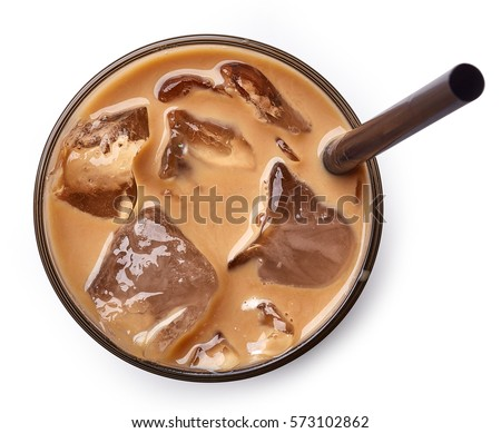 glass of ice coffee isolated on ...