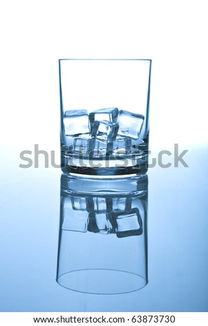 Glass of ice on white-blue background