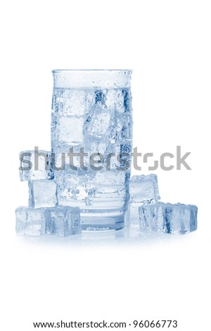 Glass of iced mineral water with bubbles on white background. Blue colored image