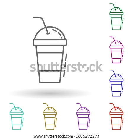 Glass of juice dusk multi color icon. Simple thin line, outlineillustration of drinks & beverages icons for ui and ux, website or mobile application