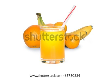 Glass of juice on white background with various fruits. Clipping path included