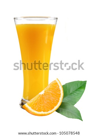 Glass of juice, orange slice with leaves on white background