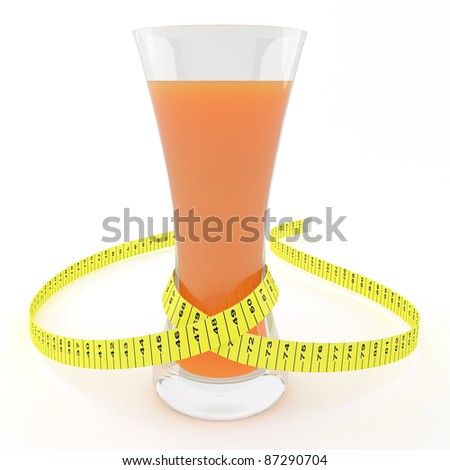 Glass of juice with a measuring tape - symbolizes a slender waist