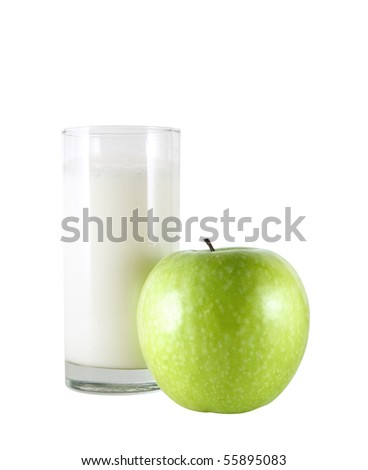 Glass of kefir and green apple isolated on a white background
