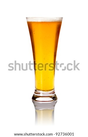 Glass of lager beer isolated on white