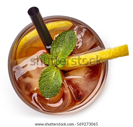 Glass of lemon ice tea isolated on white background. From top view