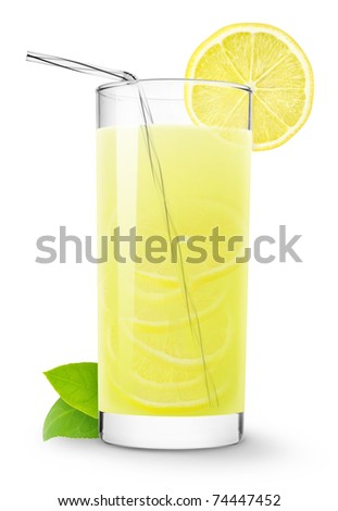 Glass of lemonade isolated on white