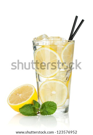 Glass of lemonade with lemon and mint. Isolated on white background