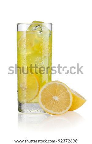 Glass of lemonade with slices of lemon on the side