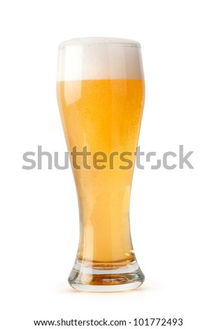 glass of light beer isolated on a white background. File contains a clipping path