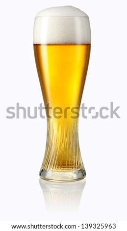 Glass of light beer isolated on white background. Clipping path