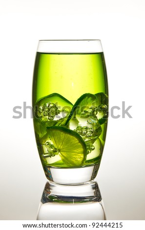 Glass of lime with ice