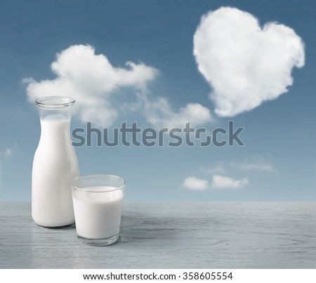 glass of milk and a milk bottle on a wooden table background, sky, clouds heart.